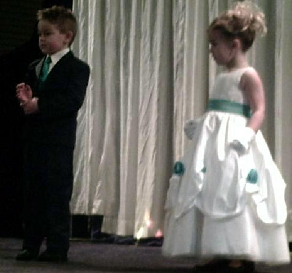 flower girl dress with matching ring bearer vest and tie