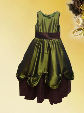 chocolate and green moss flower girl dress
