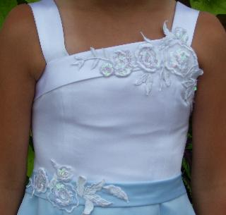 blue and white corset junior dress