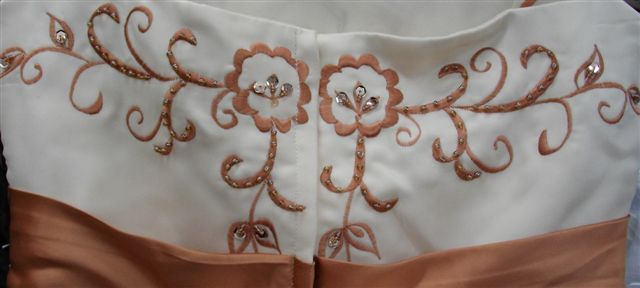 champagne copper penny bodice back