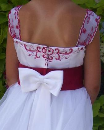 Apple Red and White bridal party dresses