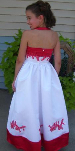 red and white halter top dress