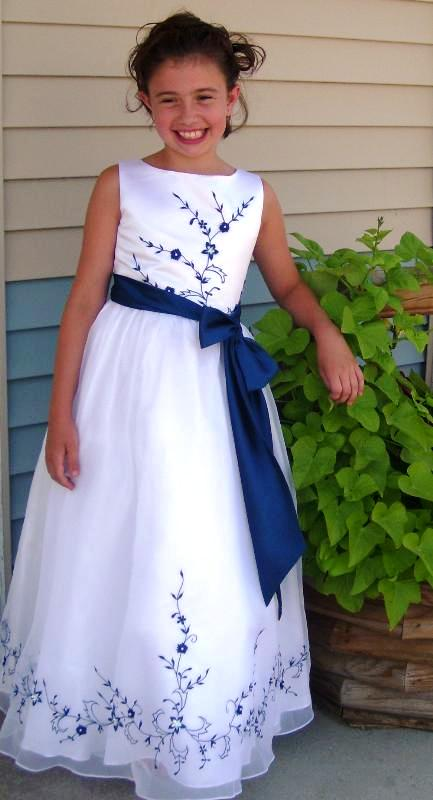 royal blue and white junior bridesmaid dress