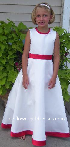 ivory red flower girl dress