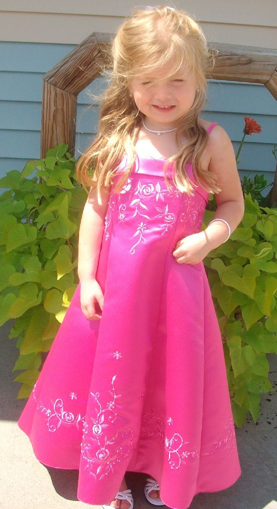Girls fuchsia long embroidered Holiday Dress