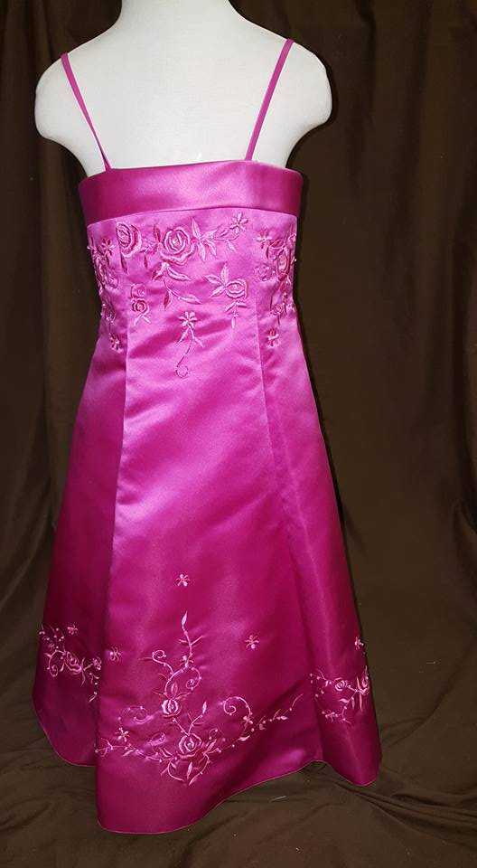 Girls fuchsia dress with pink embroidery size 3