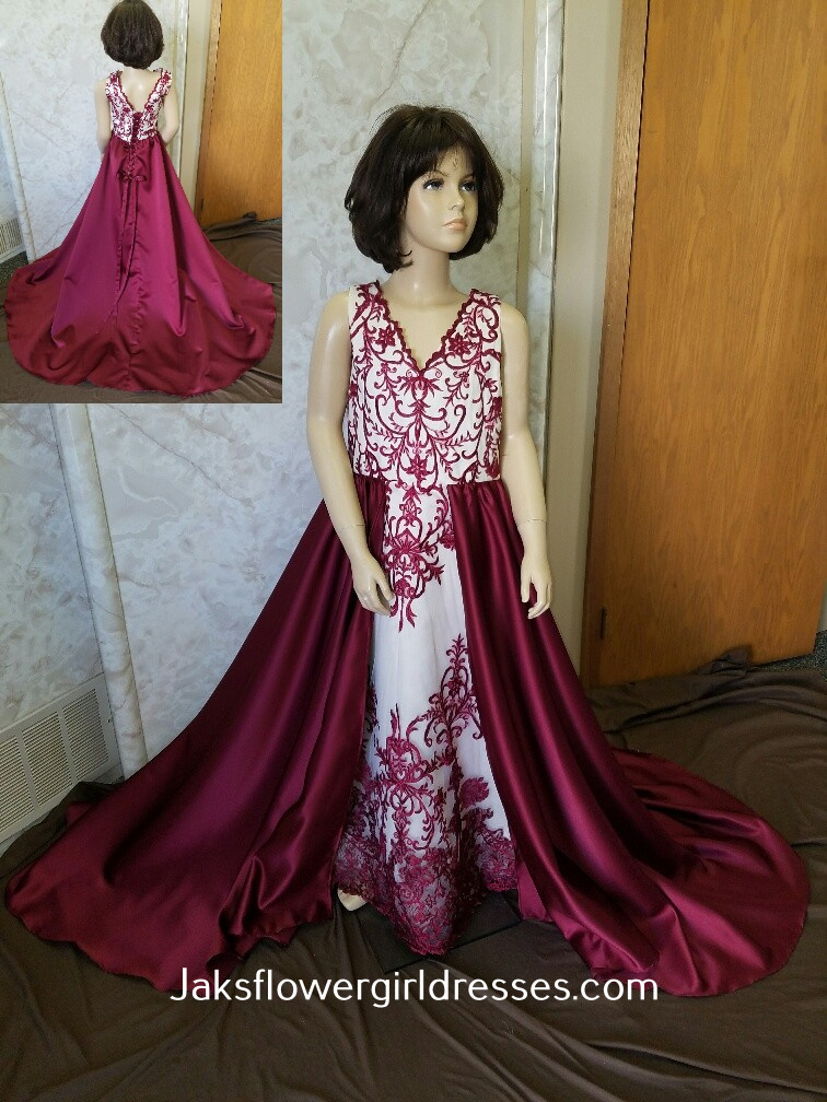 merlot flower girl dress with train