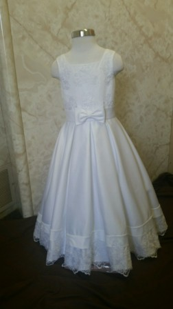 Square neck flower girl dress with bow waist