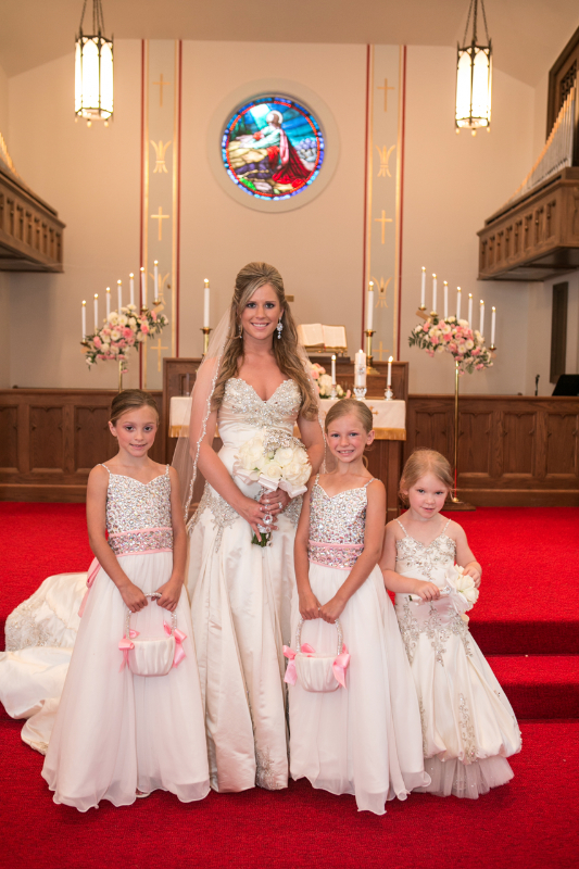 bride with 3 flower girls