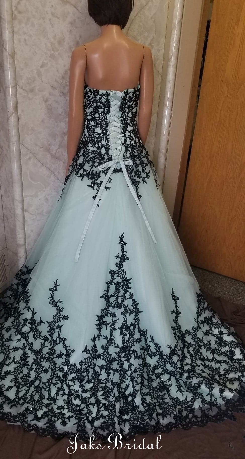 Mint and black lace ball gown