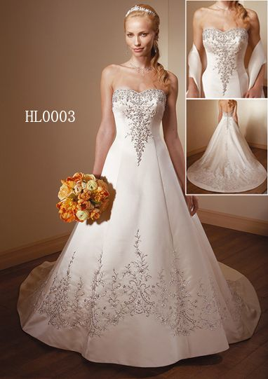 Embroidered Wedding Gown - Embroidered Quinceanera dress.