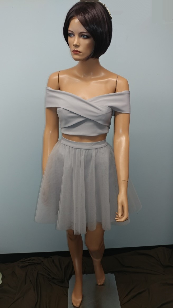 short silver prom dress