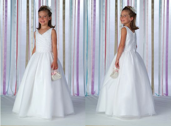 v neck flower girl dress