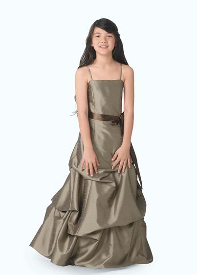 long brown junior bridesmaid dress