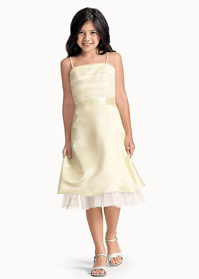 Short yellow junior bridesmaid dress