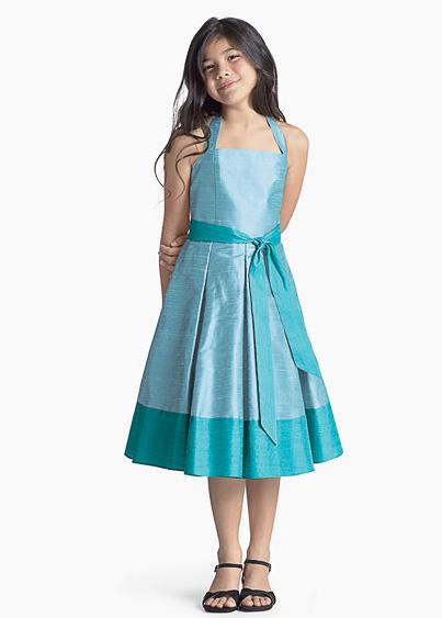 short blue junior bridesmaid dress