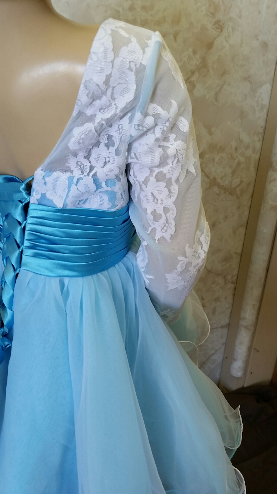 baby blue and white flower girl dresses