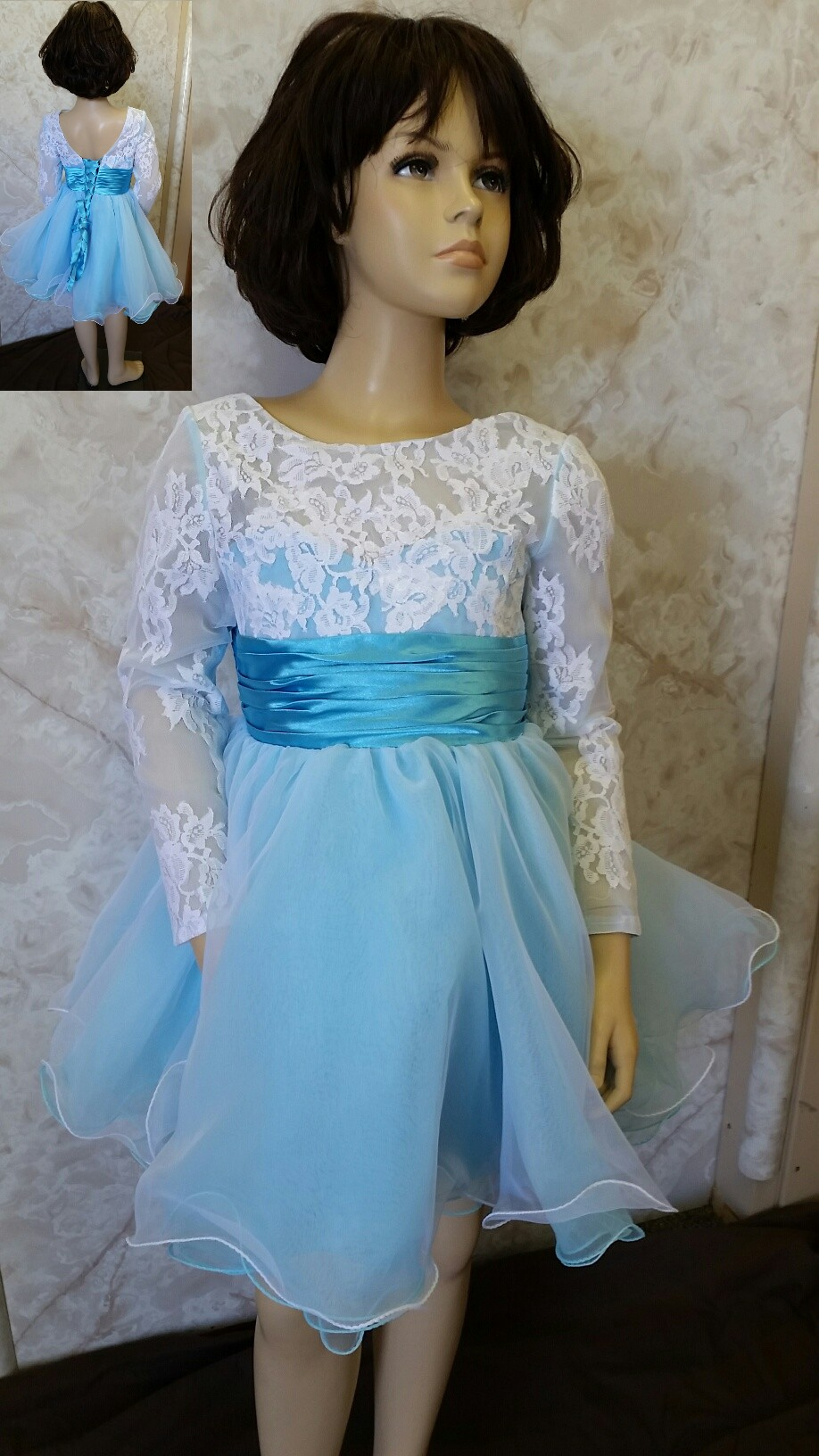 white lace and baby blue flower girl dress