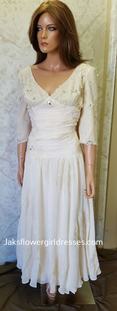 chiffon and lace mother of the bride dress