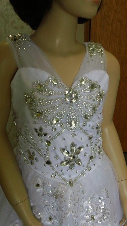 flower girl dresses covered with crystals