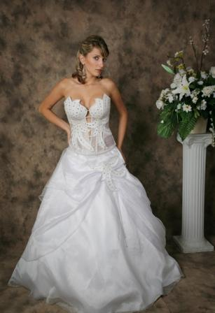 Strapless wedding applique design gown