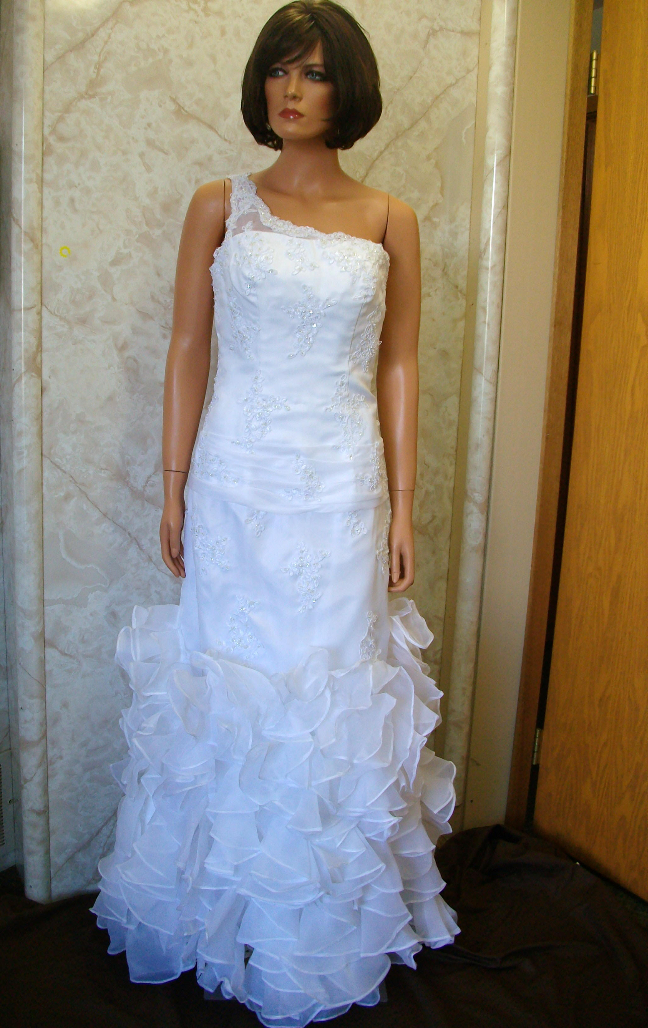 ruffled skirt wedding gown