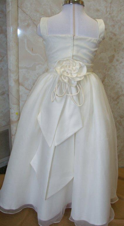Long organza square neck flower girl dress
