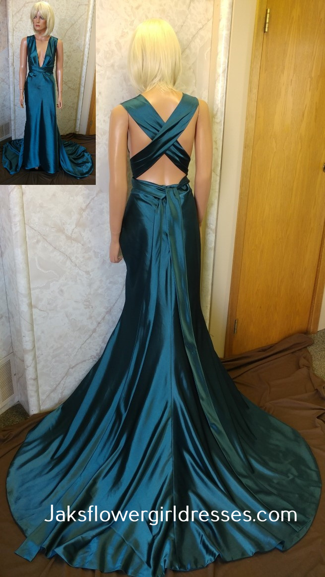 Low cut prom dress with open back