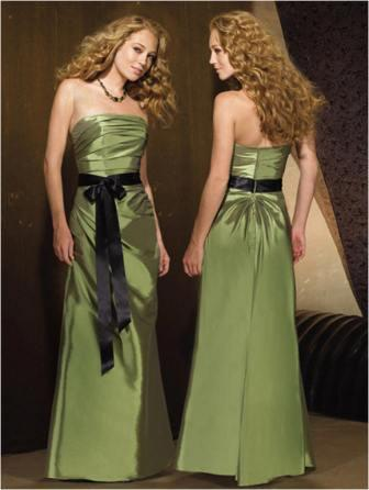 green bridesmaid dress with black sash