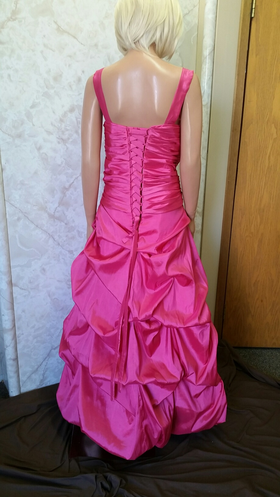 watermelon taffeta dress