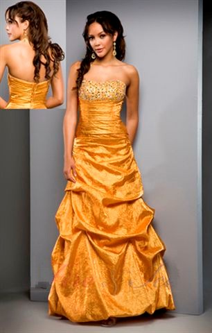 tangerine prom ball gown