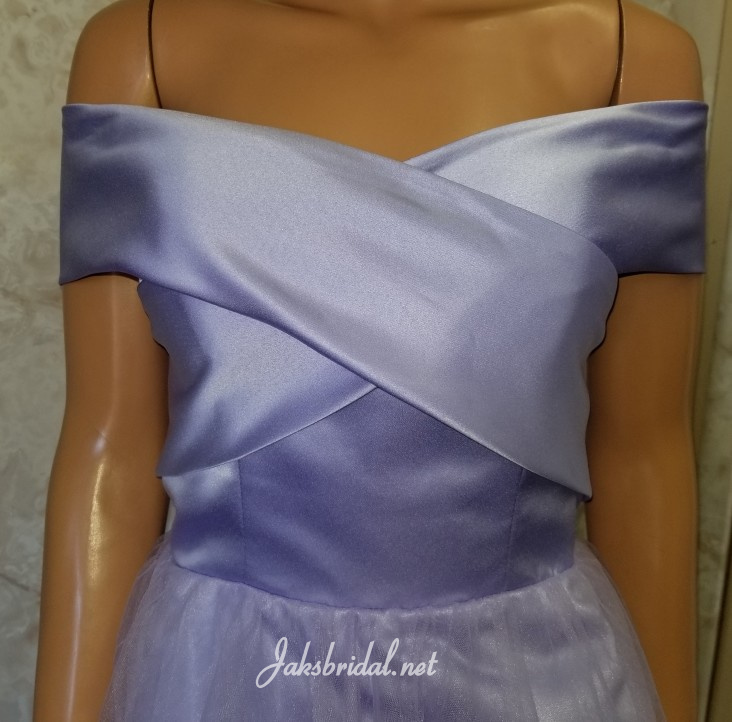 Crosscross off sleeve prom dress