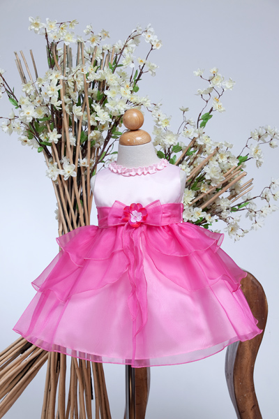 pink Infant tiered pageant dress