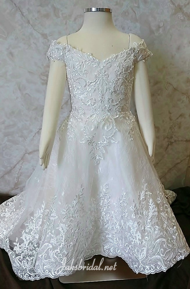 Off shoulder lace flower girl dress.  A toddler size 3 flower girl will be wearing this dress to match the bride.