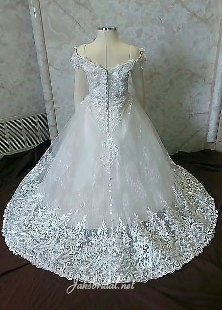 off shoulder lace flower girl dress