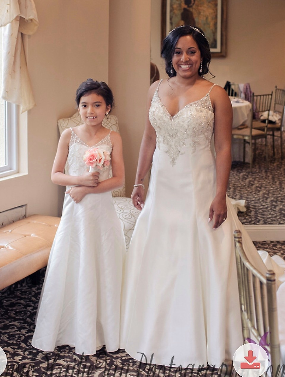 Ivory A-line flower girl dress with sheer illusion neckline and crystal designed bodice