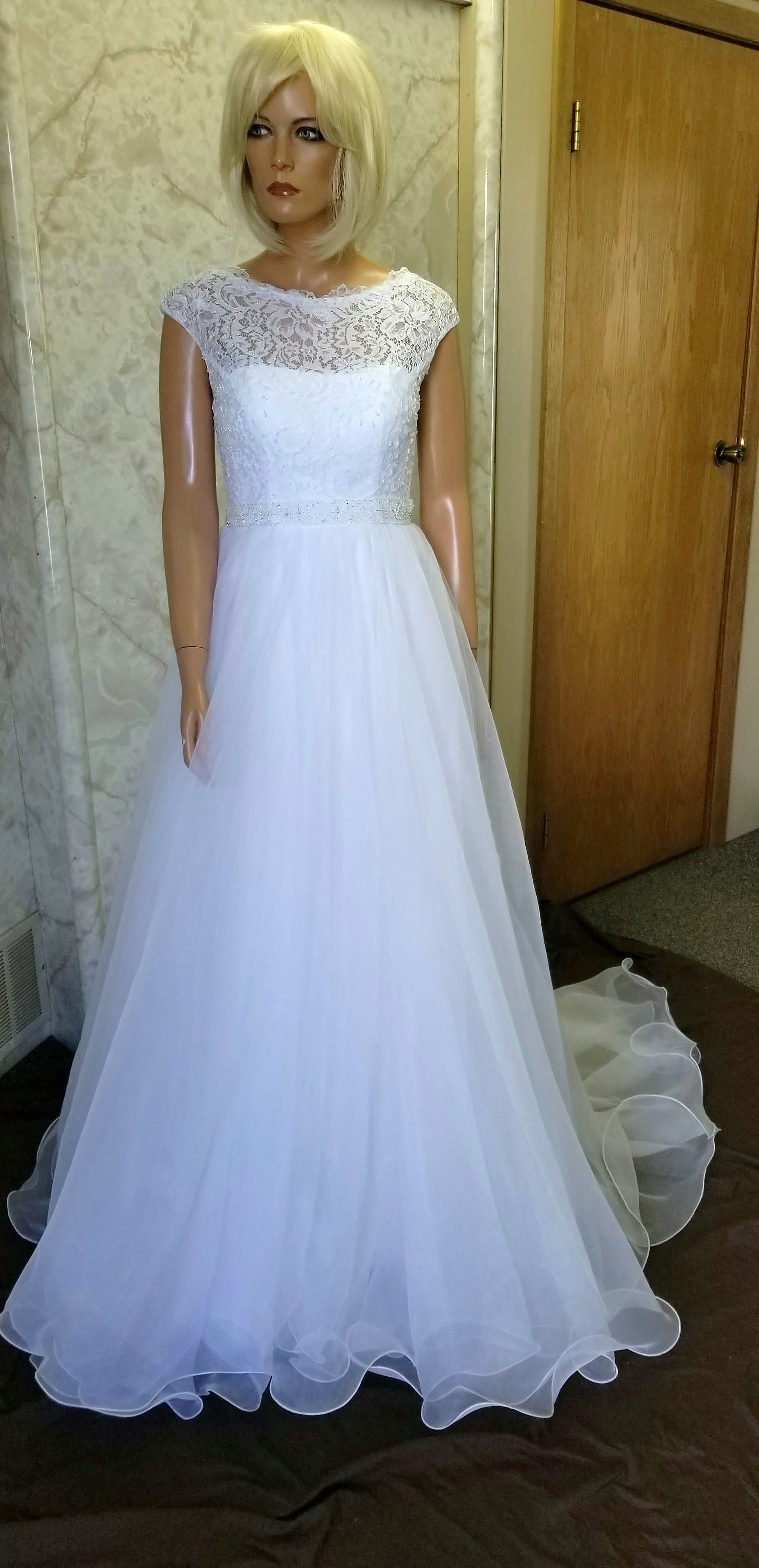 white boat neck wedding dress