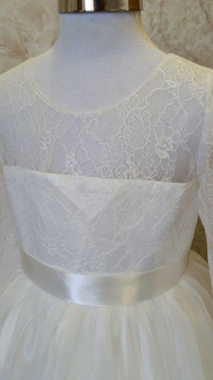 lace illusion neckline and sleeves