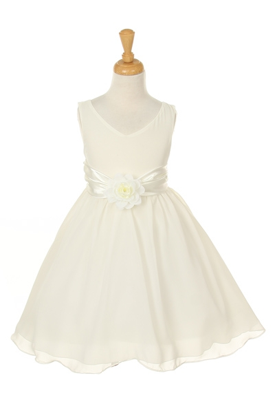 ivory dress with flower corsage
