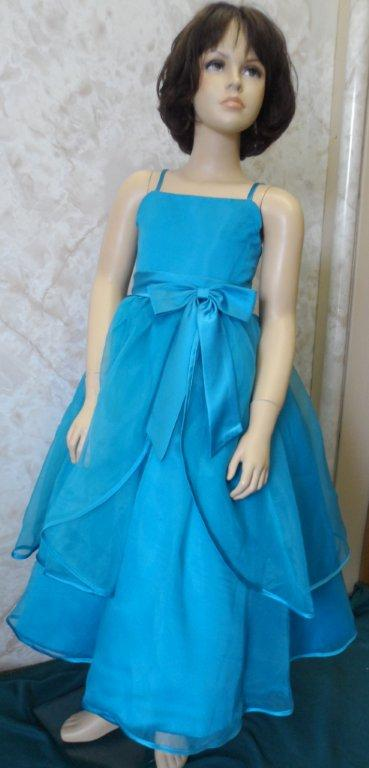 Turquoise Flower Girl Dress - Satin/Organza