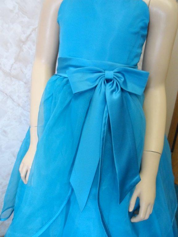 Turquoise organza spaghetti strap flower girl dress