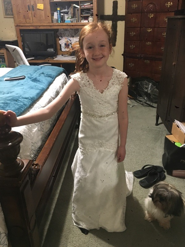 matching flower girl and bridal gowns