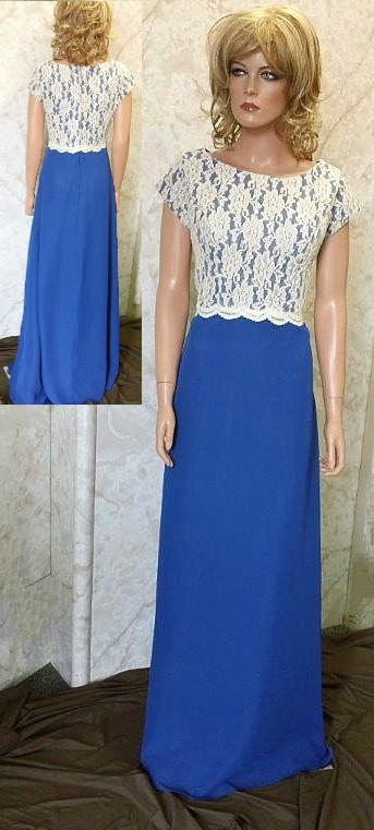 royal blue lace bodice dress
