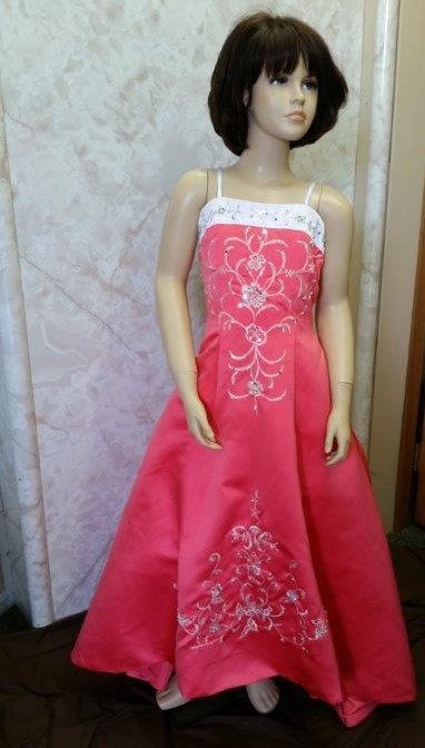 coral and white flower girl dress with train