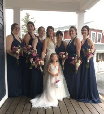 bride and flower girl matching dresses
