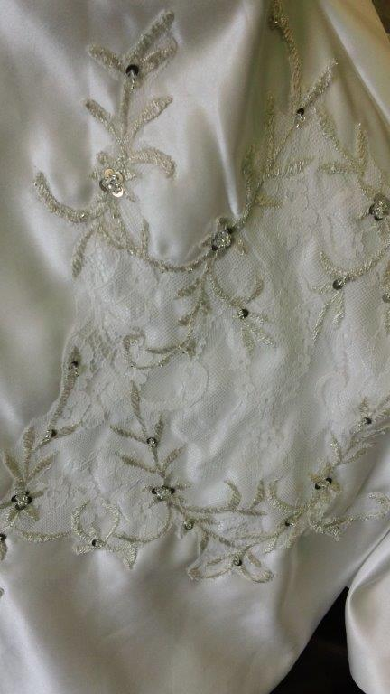 embroidered lace fabric details