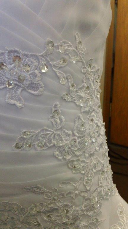 ruched bodice with lace appliques