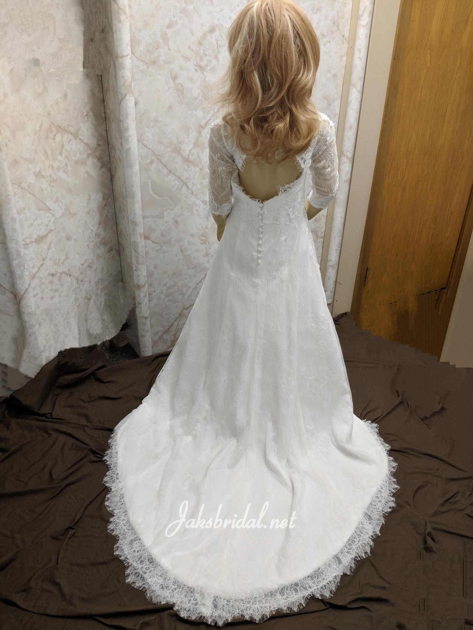 lace open back flower girl dress