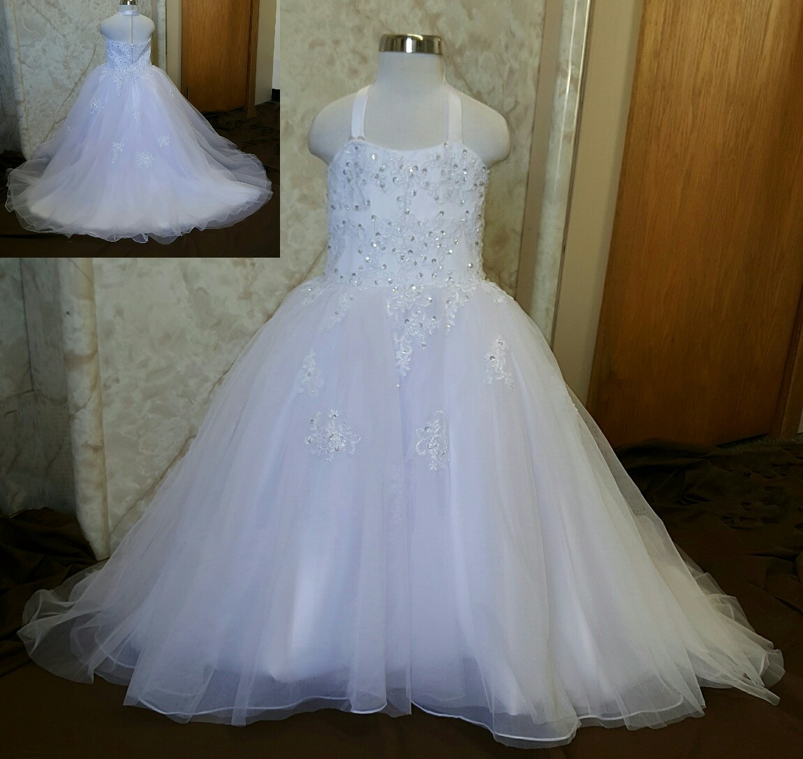 2016 Long Train Ball Gown Flower Girl Dresses