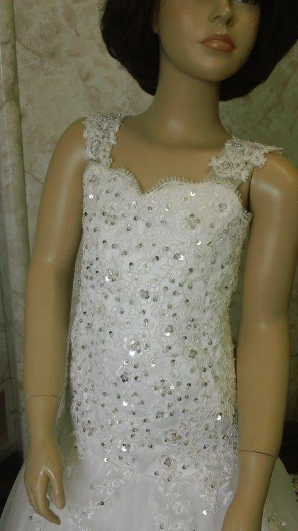 lace applique scattered with beading